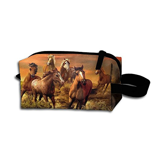 Makeup Cosmetic Bag Handsome Horse Painting Illustration Zip Travel Portable Storage Pouch For Mens Womens -