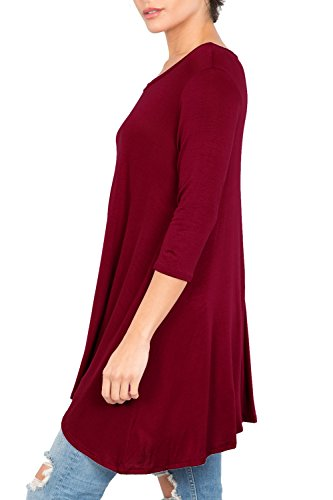 Love In T2411 3/4 Sleeve Round Neck Relaxed A-Line Tunic T Shirt Top Burgundy S by Love In (Image #5)