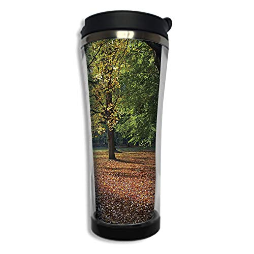 Demitasse Germany (Travel Coffee Mug 3D Printed Portable Vacuum Cup,Insulated Tea Cup Water Bottle Tumblers for Drinking with Lid 14.2oz(420 ml)by,Nature,Tranquil Tiergarten in Berlin Germany Forest Sightseeing Urban Vi)