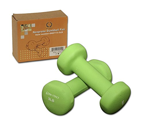 Da Vinci Pair of Neoprene Dumbbells with Non-Slip Grip, Choose Your Dumbbell Weight, 3lbs