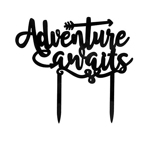 Adventure Awaits Cake Topper - Baby Shower/Travel Theme Party/Retirement Party/Graduation Party/Weeding Party Decorations (Black) ()
