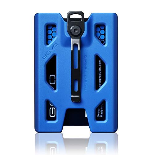 Porta credencial GOVO de policarbonato azul con 4 ranuras