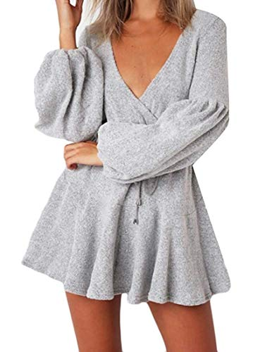 Tupath Mini Donna V Sexy Abito Club Maniche Annodato Con A Lunghe Gray Da Clubwear Scollo Nodo Nn0Ovm8w