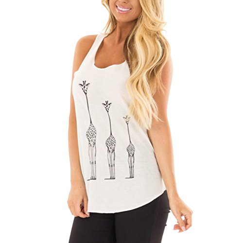 Price comparison product image Womens Summer Giraffe Print T-Shirt Sleeveless Novelty Casual Tank top (XL,  White)