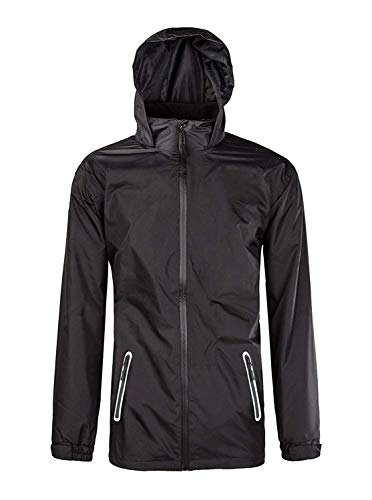 Men's Hooded Windproof Rain Jacket Outerwear Hiking Rain Coat Black X-Large
