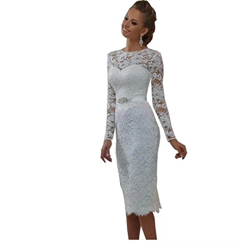 Chady Tea Length Lace Mermaid Wedding Dresses 2017 Long Sleeves Open Back Short Prom Dresses Vintage Bridal Dress by Chady