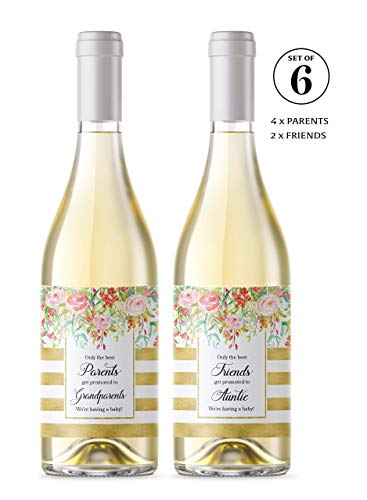 ● SET of 6 ● FAMILY & FRIENDS Pregnancy Announcement Wine Labels: 4 Only the Best PARENTS Get Promoted to GRANDPARENTS Wine Labels + 2 Best FRIENDS Get Promoted to AUNTIE Labels WATERPROOF, 450G-4P2F1 (The Best Parents Get Promoted To Grandparents Card)