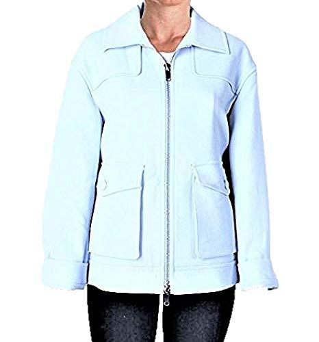 DKNY COUTURE Women's Pale Blue Ponte Zip Front Blazer Coat Jacket Outerwear SZ L -