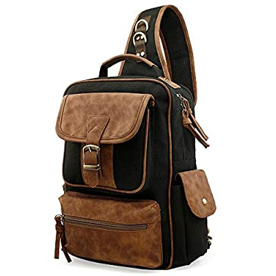 OCT17 Men Chest Shoulder Sling Backpack Cross body Canvas Messenger Outdoor Travel Daypack