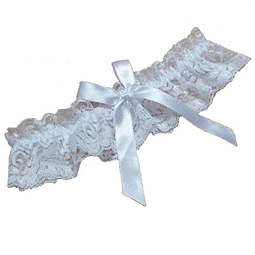 MMTTAO Women's Wedding Garter for Bridal Leg Ring Sexy Lingerie Lace Bow Plus Size Stretch Prom Garters - White]()