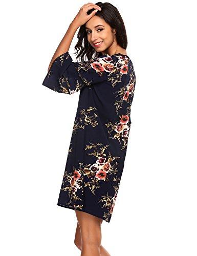 Zeagoo Women Summer Casual Floral Print Ruffle Flare Bell Sleeve 3/4 Sleeve Adorable Shift Dress
