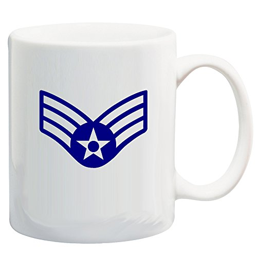 U.S. Air Force Customizable Rank Insignia Ceramic Coffee/Cocoa Mug by Carpe Diem Designs, Made in the U.S.A. ()
