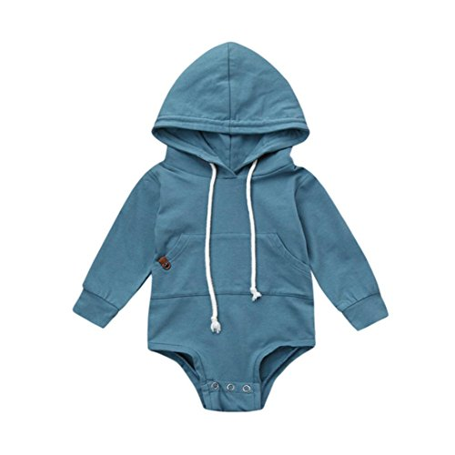 Dreammimi Baby Boy Girl Romper Solid Print Jumpsuit Playsuit Outfits Unisex Baby Clothing Sweatshirts Hoodies Overalls with Pocket (80CM 6Month, Blue)