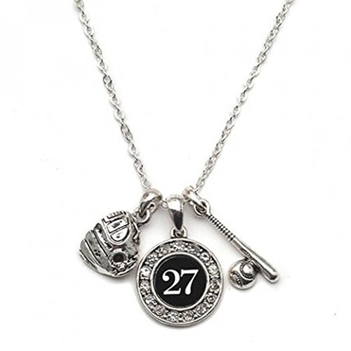 MadSportsStuff Custom Player ID Softball Necklace (#27, One Size)