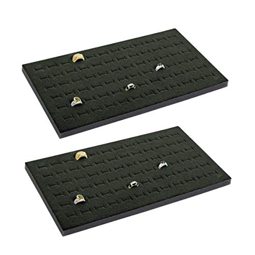 2 72 Slot Black Jewelry Travel Ring Inserts Display Pads Black Foam (Black) (Jewelry Display Ring Insert Foam)