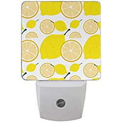 Plug in Night Light Yellow Lemon LED Night Dusk to Dawn Sensor Home Decor Desk Lamp for Adult Kids