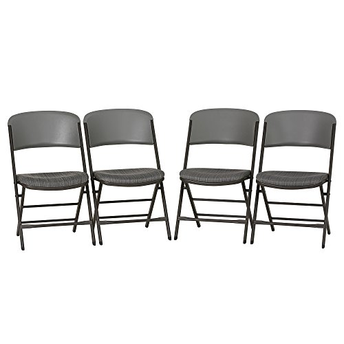 Lifetime 480426 Padded Commercial Folding Chair, 4-pack, Gray by Lifetime