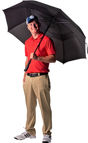 Canopy Windproof Umbrella (Athletico 62 Inch Automatic Open Golf Umbrella - Extra Large Double Canopy Umbrella Is Windproof and Waterproof - Features Ergonomic Rubber Handle (Black))