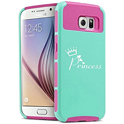 Samsung Galaxy S7 Edge Shockproof Impact Hard Case Cover Princess with Crown (Teal-Hot Pink) Sales