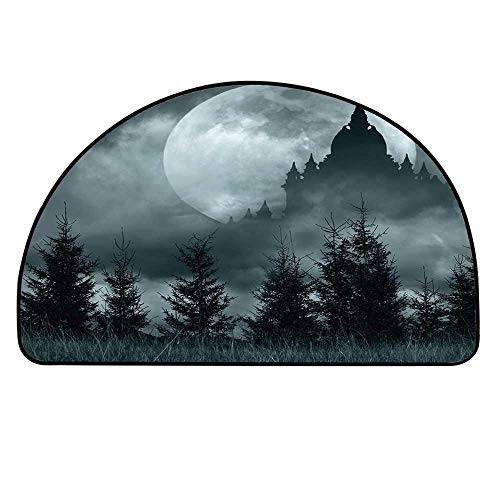 YOLIYANA Halloween Doormat,Magic Castle Silhouette Over Full Moon Night Fantasy Landscape Scary Forest Entryway Mat,29.5