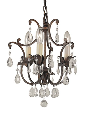 Feiss F1880 3BRB Maison De Ville Crystal Mini Candle Chandelier Lighting, Bronze, 3-Light 11 Dia x 14 H 180watts