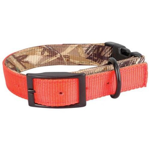 (Leather Brothers Dog Hunting Collar, Reversible, Camo To Blaze Orange, 19 Inches)