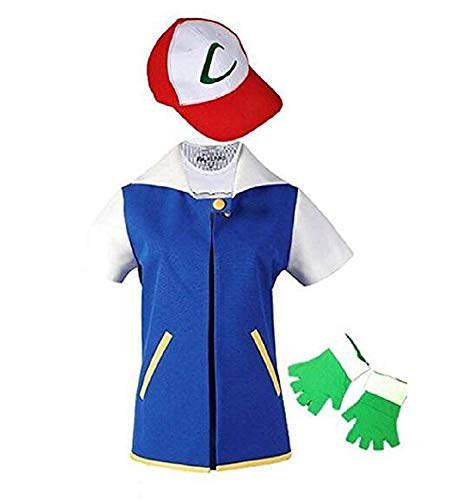 JIAXINJMF Kids Adult Cosplay Costume Jacket Gloves Hat Set Trainer Halloween Hoodie(Jacket+Gloves+Hat) Blue