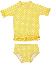 RuffleButts® Infant / Toddler Girls Yellow Polka Dot Ruffled Rash Guard Bikini - Yellow - 12-18m