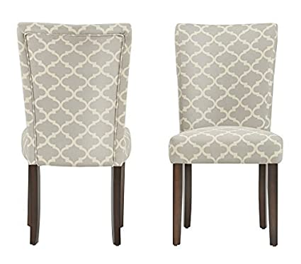 ModHaus Modern Light Gray Fabric Moroccan Quatrefoil Pattern Parsons Style  Dining Chairs   Wood Finish Wooden