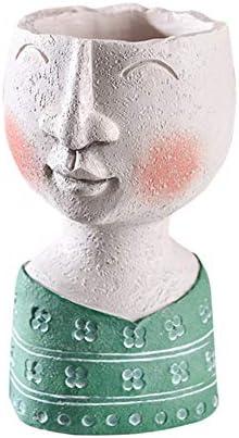 Infilm, vaso da fiori in stile vintage, per interni ed esterni, in resina, con testa in resina artistica, design creativo, vaso da fiori secchi, decorazione da giardino