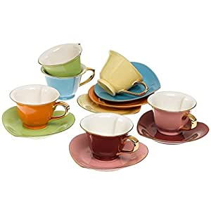 Tea and Coffee Cups with Saucers (Set of 6) by Classic Coffee & Tea|Charming, Inside Out Cups & Heart-Shaped Saucers|Fine Porcelain In 6 Colors with Gold Plated Ends & Handles|Great Gift Idea|6.5 oz