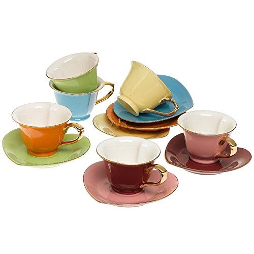 Tea and Coffee Cups with Saucers (Set of 6) by Classic Coffee & Tea|Charming, Inside Out Heart Shaped Cups Saucers|Fine Porcelain In 6 Colors with Gold Plated Ends & Handles|Great Gift Idea|6.5 oz (Whimsical Tea Sets)