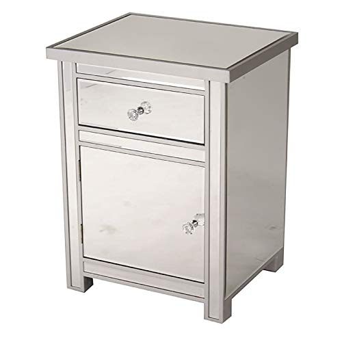 Heather Ann Creations Petite Accent Cabinet with Beveled Trim and Mirror Finish, 25.25