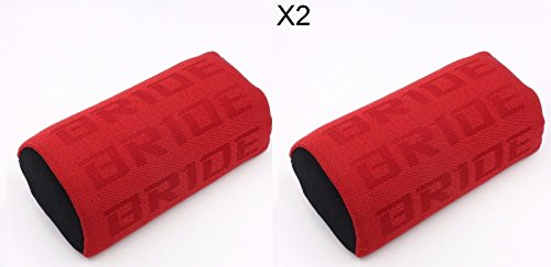 Bucket Seat Headrests (2PC JDM Bride Racing Gradation For Car Seat Neck Rest Headrest Pillow Fabric bucket Seat Material - Red)
