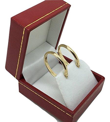 PRI211 1 paire de créoles en or 18 carats / 750 Or jaune (2,9 x Ø 22.5mm)