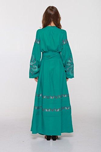 De Style Robe vert Longue Lin Robe Brodé Boho Vyshyvanka En Bleu xl xxl XwwTqtxBH