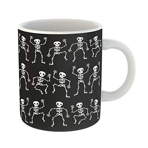 Emvency Coffee Tea Mug Gift 11 Ounces Funny Ceramic Cartoon of Dancing Skeletons Black Halloween Skull Gifts For Family Friends Coworkers Boss Mug -