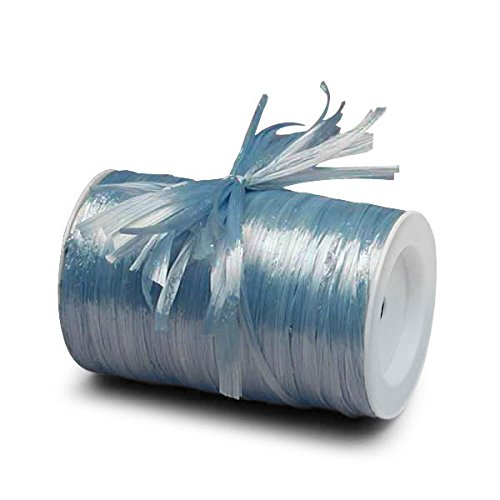 Pastel Blue Metallic Raffia Ribbon 1/4