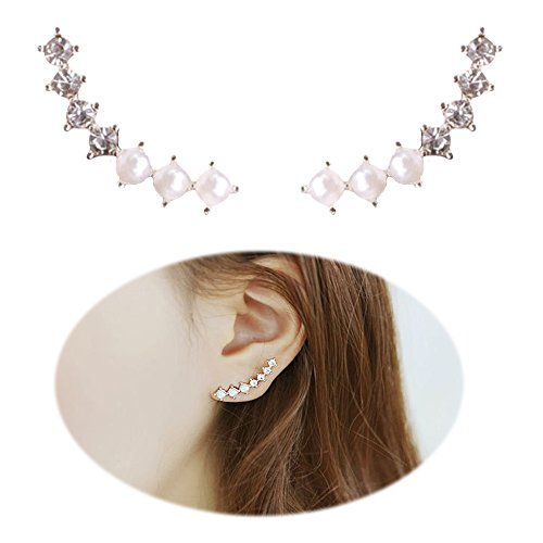 Ear Crawler Earrings Climber Ear Cuff Pin Vine Wrap Studs 7 Star Crystal Rhinestone Pearl Clip On Jewelry Silver Plated