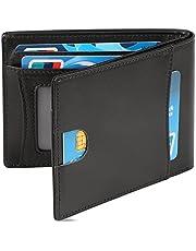 Cartera para Hombre Cartera Plegable Delgada Minimalista RFID de Cuero Genuino Con Bolsillo Frontal,Negro