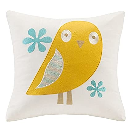 INK+IVY Kids Agatha Embroidered Animal Cotton Throw Pillow, Square Decorative Pillow, 16X16, Multi II30-640