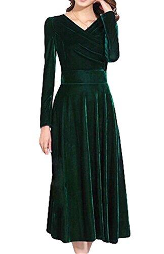vestito partito abito da velluto in oro moda PLAER donna sera Green 1xwE00