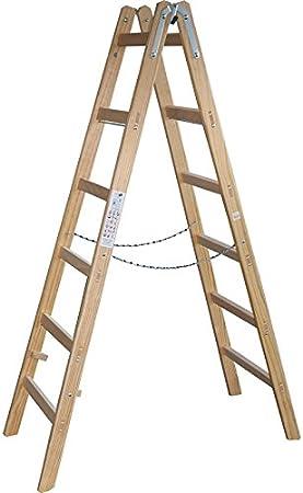 De madera de la escalera de tijera 189 cm - 6 peldaños - escalera de pintor de madera Escalera plegable - DEWEPRO/x-Tools: Amazon.es: Bricolaje y herramientas