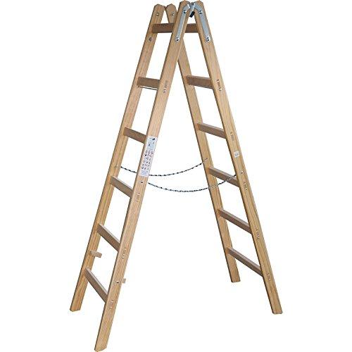 Holzleiter Stehleiter 189cm - 6 Sprossen -Malerleiter Holzstehleiter - DEWEPRO/x-tools
