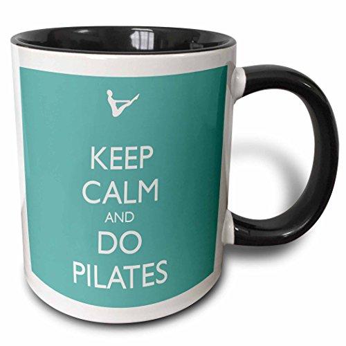 3dRose Keep Calm And Do Pilates Mug, 11 oz, Black