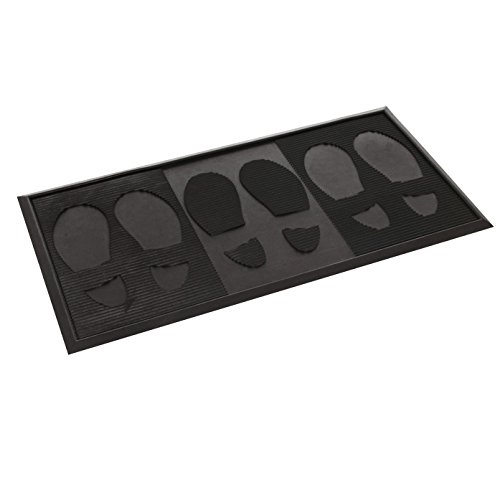 Milliard Narrow Rubber Boot Tray and Mudroom Doormat with Footrpints | 14 X 29 (Rubber Mat For Shoes)
