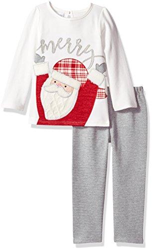 Mud Pie Baby Toddler Girls' Holiday Tunic and Leggings Two Piece Playwear Set, Santa, 4T - Mud Pie Santa