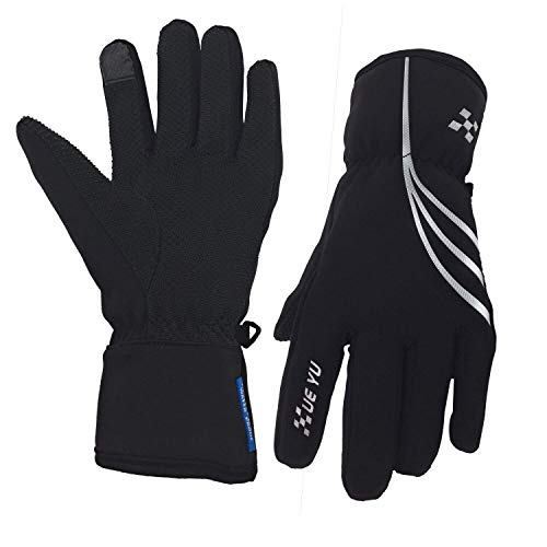 Fuxinone Waterproof Men/Women Winter Gloves, Touchscreen Thermal Warm Gloves Snowboard Snowmobile Cold Weather Gloves for Skiing,Cycling (Black-Sliver, L)