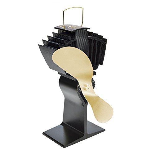 Ecofan 812AMBBX AirMax Large Heat Powered Wood Stove Fan, Made in Canada, (Gold Large Wood)