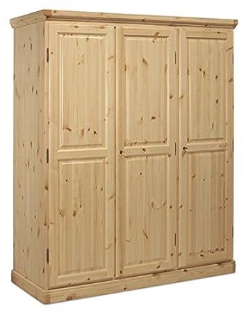 Armadio 3 ante in legno pino-Colore Naturale: Amazon.it: Casa e cucina